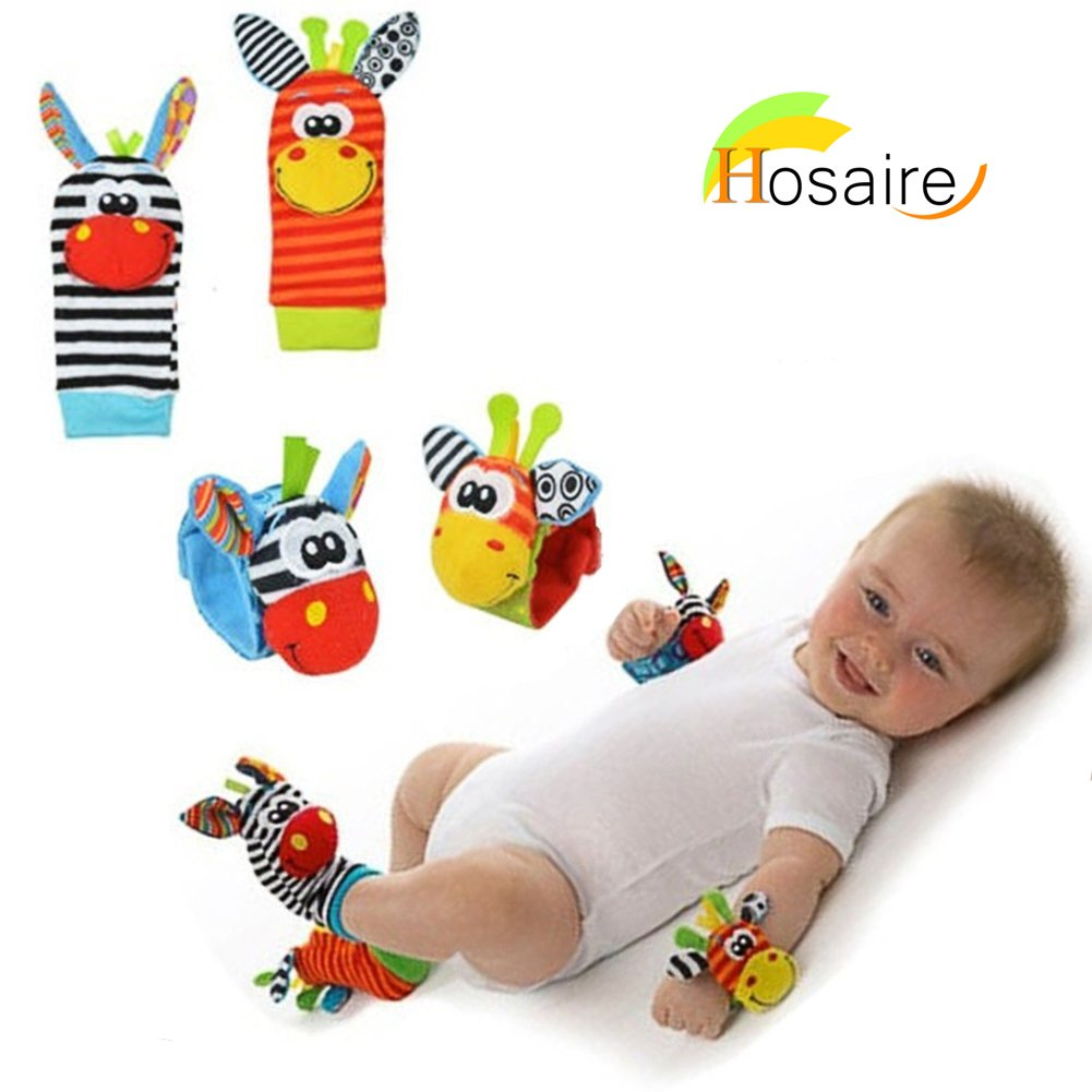calcetines y muñequeras para bebé con mordedor y sonajero