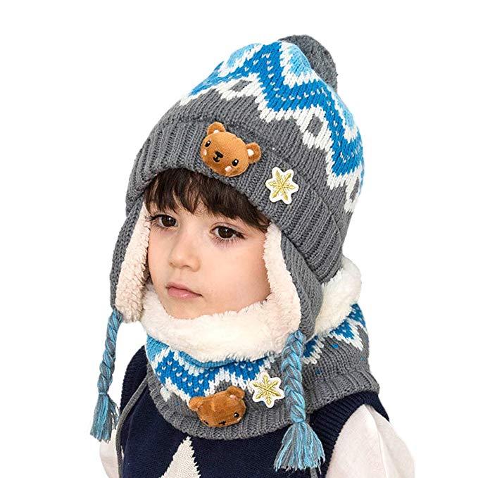 Conjunto de invierno para bebes de gorro y bufanda