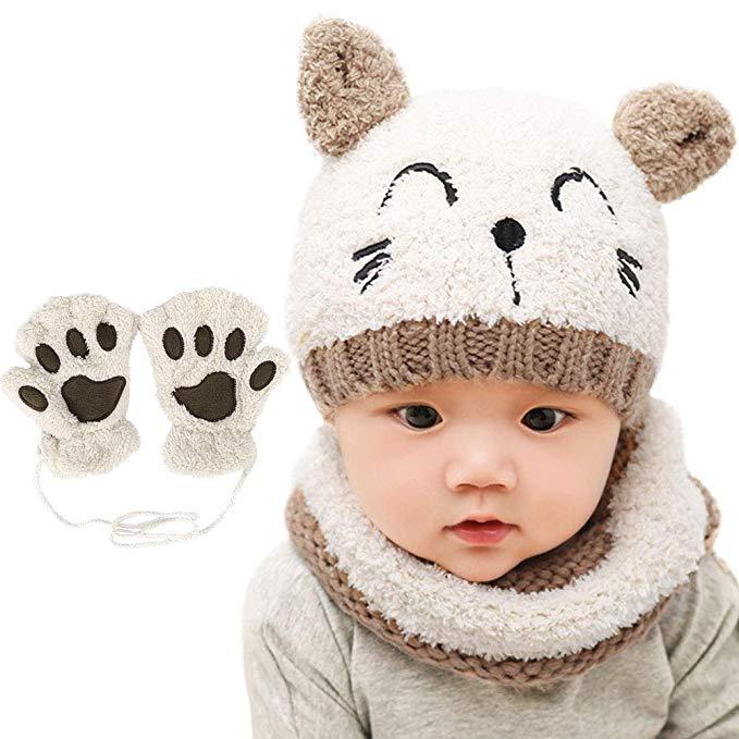 Gorro bufanda y guantes de gatito para bebes